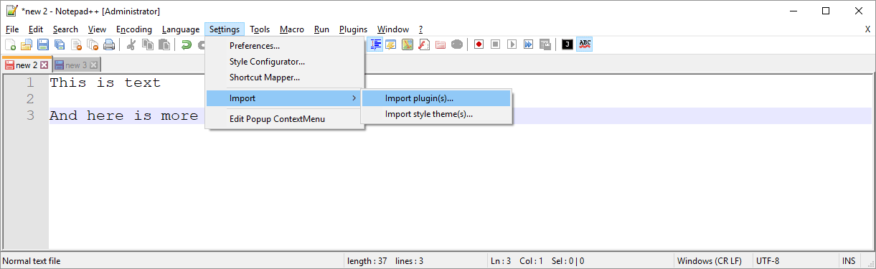 Notepad++ Import Plugins
