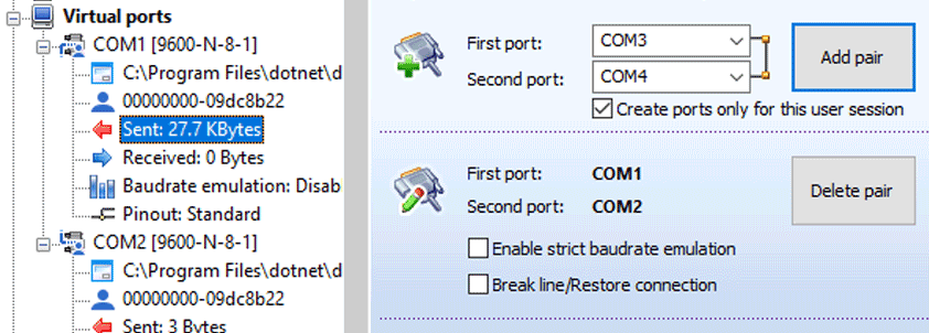 How to Create virtual COM port pairs in Windows for development